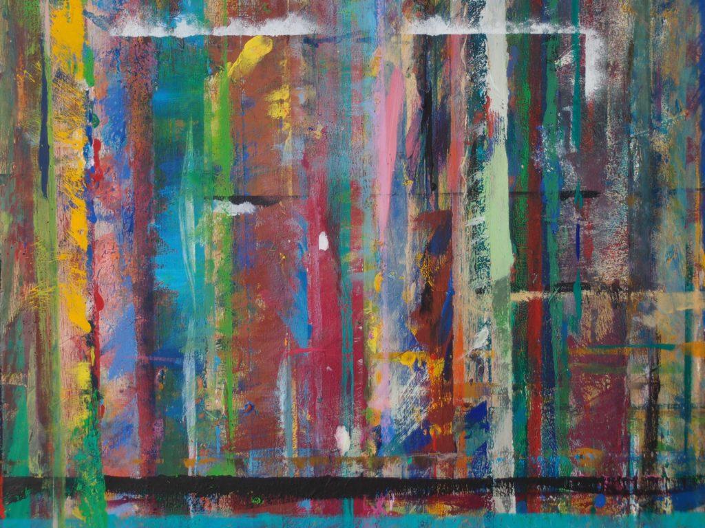 Eigentlich nicht oder doch? Vergrößerter Ausschnitt von einer Malwand. Viele Farben und Linien. Bunt. Pinselstriche sind sichtbar.