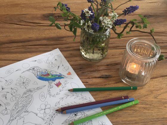 """Foto Ausmalbild """"Vögel"""", Buntstifte, Teelicht mit brennender Kerze und Blumenstrauß"""